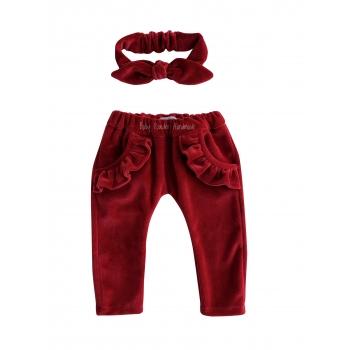 Welurowe spodnie z falbankami przy kieszonkach