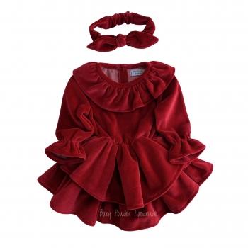 Welurowa sukienka z kołnierzykiem