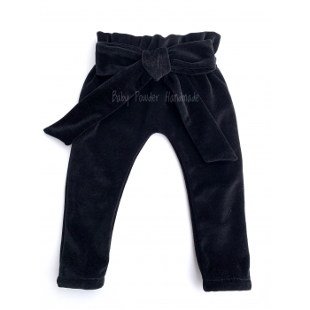 Velor pants with a bow