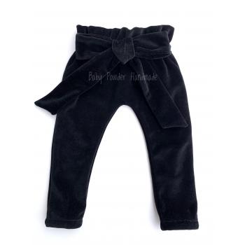 Welurowe spodnie z kokardą