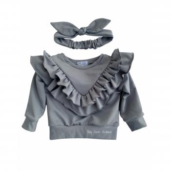 Bluza z falbanami w szpic na piersi i z tyłu bluzy
