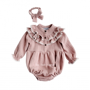 Muslin romper with ruffle and lace