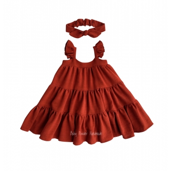 Lniana sukienka oversize na ramiączkach