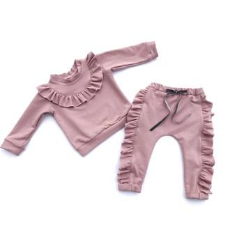 Spodnie z falbankami wzdłuż nogawek