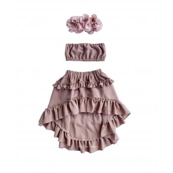 Linen set asymmetrical skirt + top