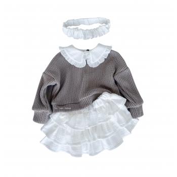 Muslin skirt with three frills