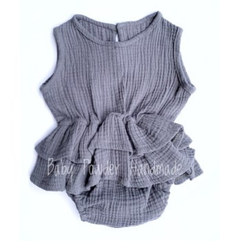 Muslin romper with a basque
