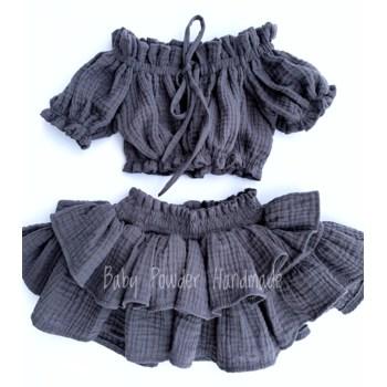 Muslin skirt with high rubber