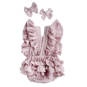 Muslin romper on braces with frills